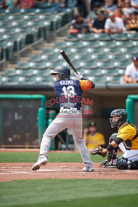 Pete Kozma (13) of the Las Vegas Aviators at bat against the Salt Lake Bees at Smith's Ballpark on July 25, 2021 in Salt Lake City, Utah. The Aviators defeated the Bees 10-6. (Stephen Smith/Four Seam Images)