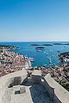 Croatia, Dalmatia, Hvar, Looking Down on Hvar Town & Castle From Hvar Castle