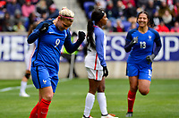 Harrison, N.J. - Sunday March 04, 2018: Eugénie Le Sommer scores and celebrates her goal during a 2018 SheBelieves Cup match between the women's national teams of the United States (USA) and France (FRA) at Red Bull Arena.