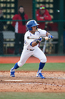 Derek Jenkins (6) of the Seton Hall Pirates lays down a bunt against the Cornell Big Red at The Ripken Experience on February 27, 2015 in Myrtle Beach, South Carolina.  The Pirates defeated the Big Red 3-0.  (Brian Westerholt/Four Seam Images)