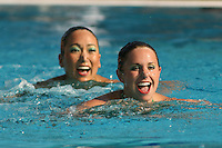 STANFORD, CA - FEBRUARY 13:  Taylor Durand and Debbie Chen during Stanford's win over Arizona on February 13, 2010 at the Avery Aquatic Center in Stanford, California.