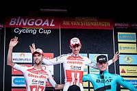 podium with:<br /> <br /> 1st place - Dries de Bondt (BEL/Corendon Circus)<br /> 2nd place - Jimmy Janssens (BEL/Corendon Circus)<br /> 3th place - Piotr Havik (NED/Beat Cycling Club)<br /> <br /> 23th Memorial Rik Van Steenbergen 2019<br /> One Day Race: Beerse > Arendonk 208km (UCI 1.1)<br /> ©kramon