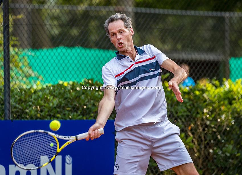 Hilversum, The Netherlands,  August 20, 2021,  Tulip Tennis Center, NKS, National Senior Tennis Championships, Men's single 55+, Paul de Haan (NED)<br /> Photo: Tennisimages/Henk Koster