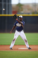 San Diego Padres Ruddy Giron (2) during warmups before an instructional league game against the Milwaukee Brewers on October 6, 2015 at the Peoria Sports Complex in Peoria, Arizona.  (Mike Janes/Four Seam Images)
