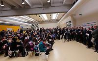 """Un momento della cerimonia di benvenuto per i rifugiati siriani provenienti dai campi dell'ACNUR in Libano, all'aeroporto internazionale di Roma Fiumicino, 29 febbraio 2015. 93 rifugiati fuggiti dalle città' siriane di Homs, Hama e Dibli sono sbarcati in Italia grazie al corridoio umanitario protetto lanciato dal governo italiano, dalla Comunità' di Sant'Egidio, dalla Federazione delle Chiese Evangeliche Valdesi e dalla Tavola Valdese.<br /> A view of a welcoming ceremony for Syrian refugees arrived from Lebanon's UNHCR camps at Rome's Fiumicino international airport, 29 February 2016. 93 refugees coming from Homs, Hama and Idlib landed thanks to the """"humanitarian corridor"""" project launched by the Italian Foreign Ministry, Interior Ministry, Sant'Egidio Community, Federation of Evangelical Churches in Italy and Waldensian Board.<br /> UPDATE IMAGES PRESS/Riccardo De Luca"""
