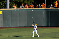 Tennessee Volunteers center fielder Drew Gilbert (1) on defense against the Arkansas Razorbacks on May 14, 2021, on Robert M. Lindsay Field at Lindsey Nelson Stadium in Knoxville, Tennessee. (Danny Parker/Four Seam Images)