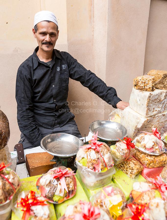 Fes, Morocco.  Nougat Salesman in the Medina.