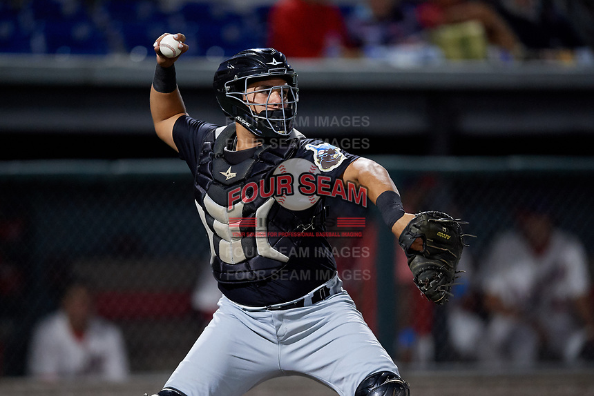 West Virginia Black Bears catcher Elys Escobar (3) throws down to second base during a NY-Penn League game against the Auburn Doubledays on August 23, 2019 at Falcon Park in Auburn, New York.  West Virginia defeated Auburn 6-5, the second game of a doubleheader.  (Mike Janes/Four Seam Images)