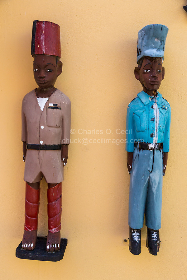 Willemstad, Curacao, Lesser Antilles.  Wall Decorations:  Models of Uniformed African Figures from the Colonial Era, Kura Hulanda Historic Area.