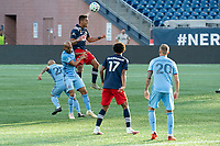 FOXBOROUGH, MA - SEPTEMBER 19: Brandon Bye #15 of New England Revolution leaps for a head ball during a game between New York City FC and New England Revolution at Gillette on September 19, 2020 in Foxborough, Massachusetts.