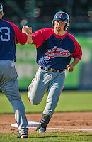 29 June 2014:  Lowell Spinners first baseman Sam Travis rounds the bases after hitting a 3rd inning home run against the Vermont Lake Monsters at Centennial Field in Burlington, Vermont. The Spinners defeated the Lake Monsters 7-5 in NY Penn League action. Mandatory Credit: Ed Wolfstein Photo *** RAW Image File Available ****
