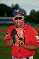 State College Spikes pitcher Rodard Avelino (37) poses for photo before a NY-Penn League game against the Batavia Muckdogs on July 2, 2019 at Dwyer Stadium in Batavia, New York.  Batavia defeated State College 1-0.  (Mike Janes/Four Seam Images)