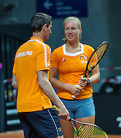 2016, 12 April, Arena Loire, Trélazè,  Semifinal FedCup, France-Netherlands, Captain Paul Haarhuis and Kiki Bertens<br /> Photo:Tennisimages/Henk Koster