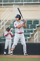 Chad De La Guerra (20) of the Greenville Drive at bat against the Kannapolis Intimidators at Intimidators Stadium on June 7, 2016 in Kannapolis, North Carolina.  The Drive defeated the Intimidators 5-2 in game two of a double header.  (Brian Westerholt/Four Seam Images)