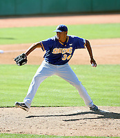 Roberto Padilla #34 of the San Jose State Spartans plays against the Nevada Wolf Pack in the Western Athletic Conference post-season tournament at Hohokam Stadium on May 25, 2011 in Mesa, Arizona. .Photo by:  Bill Mitchell/Four Seam Images.