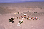 Atacama Desert Chile a stone cross marks the symbolic place where many of The Disappeared were buried victims of General Pinochet Caravan of Death. 2000s