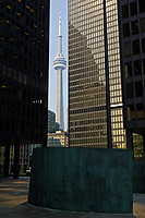 The CN Tower between buildings of..the Toronto Dominion Centre between King Street West and wellington  in downtown Toronto... Designed by Architect Ludwig Mies Van Der Roche and build between 1967 and 1969.......    photo by Pierre Roussel - Images Distribution