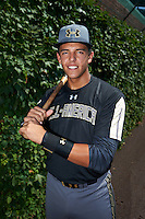 Colton Welker (13) of Marjory Stoneman Douglas High School in Coral Springs, Florida poses for a photo before the Under Armour All-American Game on August 15, 2015 at Wrigley Field in Chicago, Illinois. (Mike Janes/Four Seam Images)