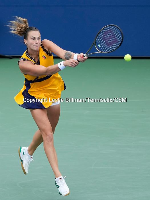 September  1, 2021:  Aryna Sabalenka (BLR) defeated Tamara Zidansek 6-3, 6-1, at the US Open being played at Billy Jean King Ntional Tennis Center in Flushing, Queens, New York / USA  ©Leslie Billman/Tennisclix/CSM