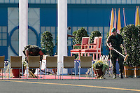 Czech soldiers clean the red carpet right before the arrival of the Pope Benedict XVI at the Prague Airport, Czech Republic, 26 September 2009.