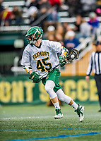 6 April 2019:  University of Vermont Catamount Midfielder Jonathon McConvey, a Freshman from Toronto, Ontario, in action against the University at Albany Great Danes on Virtue Field in Burlington, Vermont. The Cats rallied to defeat the Danes 10-9 in America East divisional play. Mandatory Credit: Ed Wolfstein Photo *** RAW (NEF) Image File Available ***
