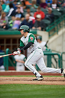 Fort Wayne TinCaps designated hitter Hudson Potts (20) follows through on a swing during a game against the Wisconsin Timber Rattlers on May 10, 2017 at Parkview Field in Fort Wayne, Indiana.  Fort Wayne defeated Wisconsin 3-2.  (Mike Janes/Four Seam Images)