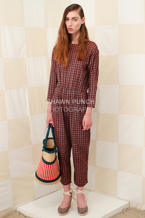Model poses in an outfit from the Litke Spring Summer 2015 collection by Catherine Litke, during New York Fashion Week Spring 2015, September 3, 2014.