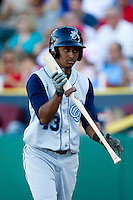 Jose Thompson (43) of the Corpus Christi Hooks on deck during a game against the Springfield Cardinals at Hammons Field on August 13, 2011 in Springfield, Missouri. Springfield defeated Corpus Christi 8-7. (David Welker / Four Seam Images)