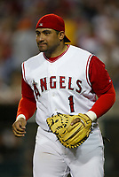 Bengie Molina of the Anaheim Angels during a 2003 season MLB game at Angel Stadium in Anaheim, California. (Larry Goren/Four Seam Images)