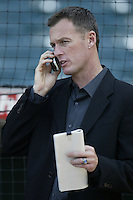Kansas City Royals General Manager Allard Baird before a 2002 MLB season game against the Los Angeles Angels at Angel Stadium, in Anaheim, California. (Larry Goren/Four Seam Images)