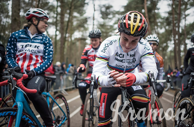 Sanne Cant (BEL) smiling on the start grid<br /> <br /> elite womens race<br /> Krawatencross Lille 2017