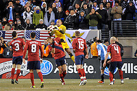 United States goalkeeper Tim Howard (1) grabs a ball.  The United States (USA) and Argentina (ARG) played to a 1-1 tie during an international friendly at the New Meadowlands Stadium in East Rutherford, NJ, on March 26, 2011.