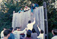 Team building wooden wall challenge, horz. MA USA.
