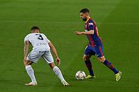 15th march 2021; Camp Nou, Barcelona, Catalonia, Spain; La Liga Football, Barcelona versus Huesca;  Jordi Alba of Barcelona takes on Pablo Maffeo of Huesca