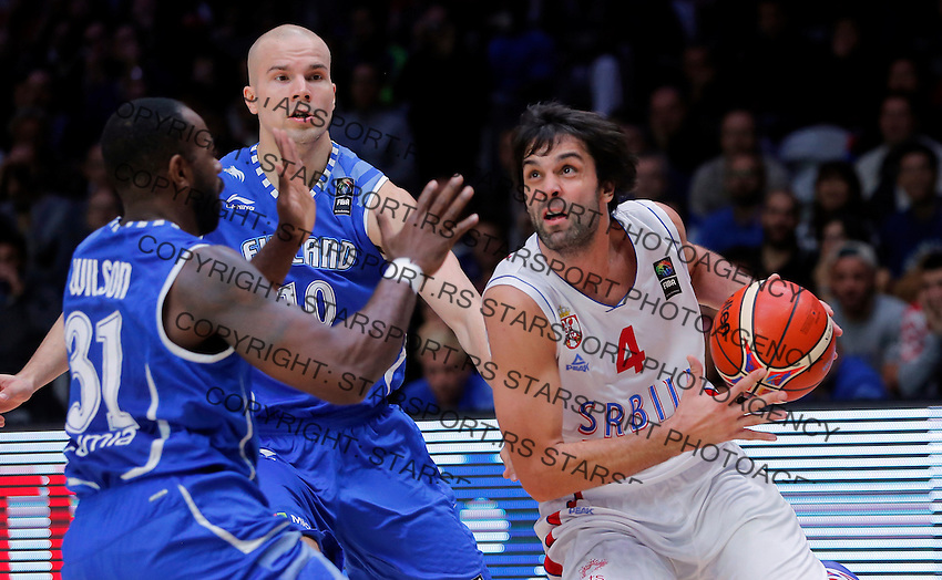Serbia's Milos Teodosic (R) vies with Finland's Jamar Wilson (L) during European basketball championship, round of 16 basketball match between Serbia and Finland on September 13, 2015 in Lille, France  (credit image & photo: Pedja Milosavljevic / STARSPORT)