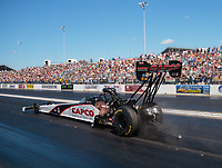Sep 23, 2018; Madison, IL, USA; NHRA top fuel driver Steve Torrence during the Midwest Nationals at Gateway Motorsports Park. Mandatory Credit: Mark J. Rebilas-USA TODAY Sports