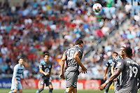 ST. PAUL, MN - AUGUST 21: Michael Boxall #15 of Minnesota United FC with the header during a game between Sporting Kansas City and Minnesota United FC at Allianz Field on August 21, 2021 in St. Paul, Minnesota.