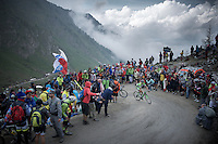 Francesco Bongiorno (ITA/Bardiani-CSF) up the dirt roads of the Colle delle Finestre (2178m)<br /> <br /> Giro d'Italia 2015<br /> stage 20: Saint Vincent - Sestriere (199km)