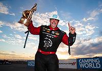 Nov 1, 2020; Las Vegas, Nevada, USA; NHRA funny car driver Matt Hagan celebrates after winning the NHRA Finals at The Strip at Las Vegas Motor Speedway. Mandatory Credit: Mark J. Rebilas-USA TODAY Sports