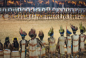 Xerente and Karaja delegations participate during the opening ceremony at the first ever International Indigenous Games, in the city of Palmas, Tocantins State, Brazil. Photo © Sue Cunningham, pictures@scphotographic.com 23rd October 2015