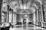 Dayton Art Institute interior. Quiet moment in black and white at the museum.