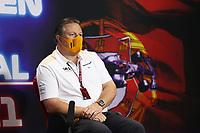 30th April 2021; Algarve International Circuit, in Portimao, Portugal; F1 Grand Prix of Portugal, Free practise:  Zak Brown USA, McLaren F1 Team