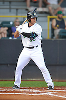 Clinton LumberKings Alex Jackson (35) bats during the Midwest League game against the Beloit Snappers at Ashford University Field on June 11, 2016 in Clinton, Iowa.  The LumberKings won 7-6.  (Dennis Hubbard/Four Seam Images)