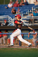 Batavia Muckdogs third baseman Denis Karas (25) at bat during a game against the Auburn Doubledays on August 26, 2017 at Dwyer Stadium in Batavia, New York.  Batavia defeated Auburn 5-4.  (Mike Janes/Four Seam Images)