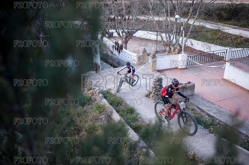 Chelva, SPAIN - MARCH 6: Carlos Peris, Adrian Martinez during Spanish Open BTT XCO on March 6, 2016 in Chelva, Spain