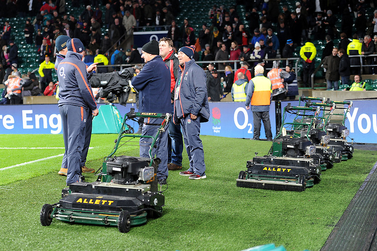 Ground staff prepare to cut the hallowed turf at the end of the Old Mutual Wealth Series match between England and South Africa at Twickenham Stadium on Saturday 12th November 2016 (Photo by Rob Munro)