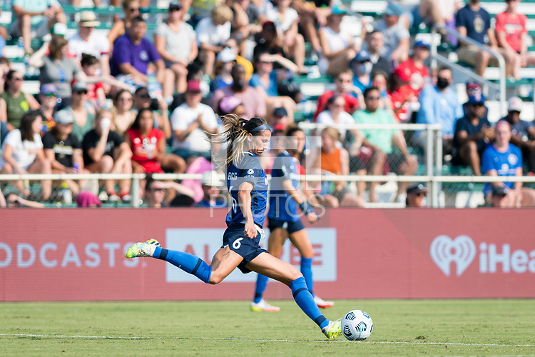 CARY, NC - SEPTEMBER 12: Abby Erceg #6 of the NC Courage passes the ball during a game between Portland Thorns FC and North Carolina Courage at WakeMed Soccer Park on September 12, 2021 in Cary, North Carolina.