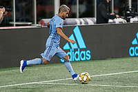FOXBOROUGH, MA - SEPTEMBER 29: Maximiliano Moralez #10 of New York City FC crosses the ball during a game between New York City FC and New England Revolution at Gillettes Stadium on September 29, 2019 in Foxborough, Massachusetts.