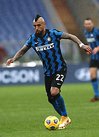 Football, Serie A: AS Roma -  FC Internazionale Milano, Olympic stadium, Rome, January 10, 2021. <br /> Inter's Arturo Vidal in action during the Italian Serie A football match between Roma and Inter at Rome's Olympic stadium, on January 10, 2021.  <br /> UPDATE IMAGES PRESS/Isabella Bonotto