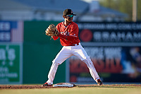 Batavia Muckdogs second baseman Gerardo Nunez (1) turns a double play during a game against the West Virginia Black Bears on July 3, 2018 at Dwyer Stadium in Batavia, New York.  Batavia defeated West Virginia 5-4.  (Mike Janes/Four Seam Images)